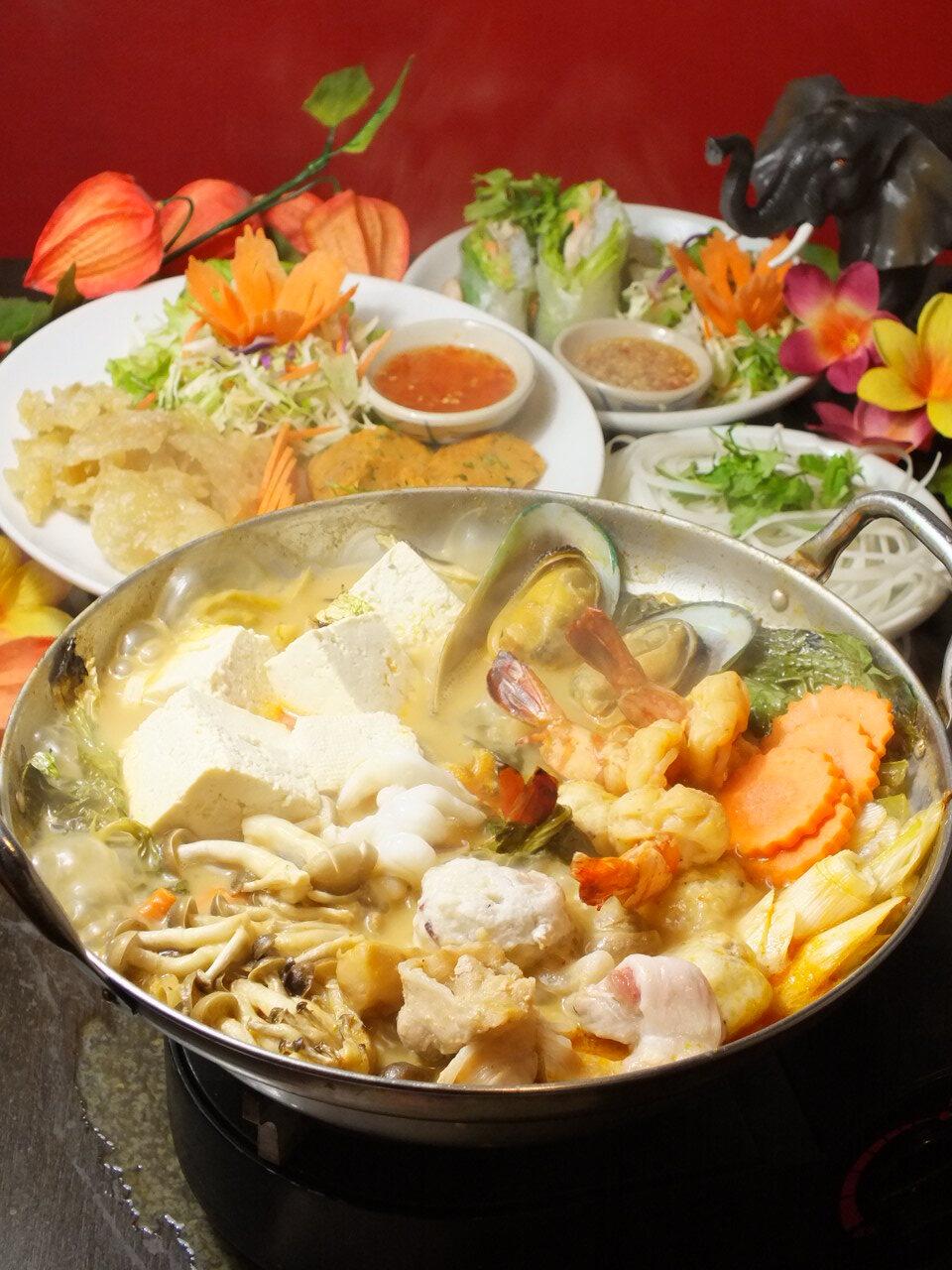タイ風ハーブ牡蠣鍋コース (3,980 円)